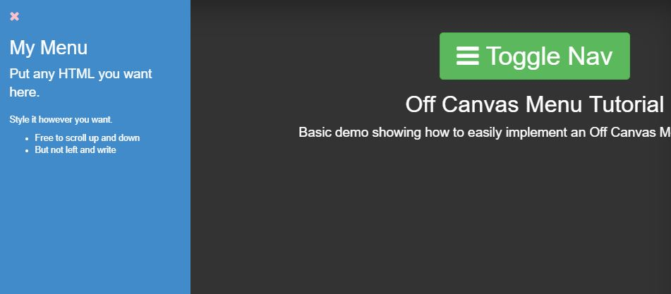 Off Canvas Menu CSS3