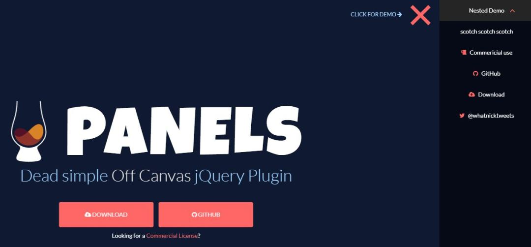 Panels Simple off Canvas jQuery Plugin