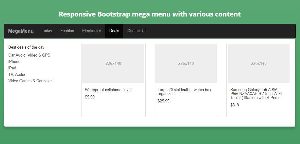 Responsive Bootstrap Mega Menu Code Snippets - OnAirCode