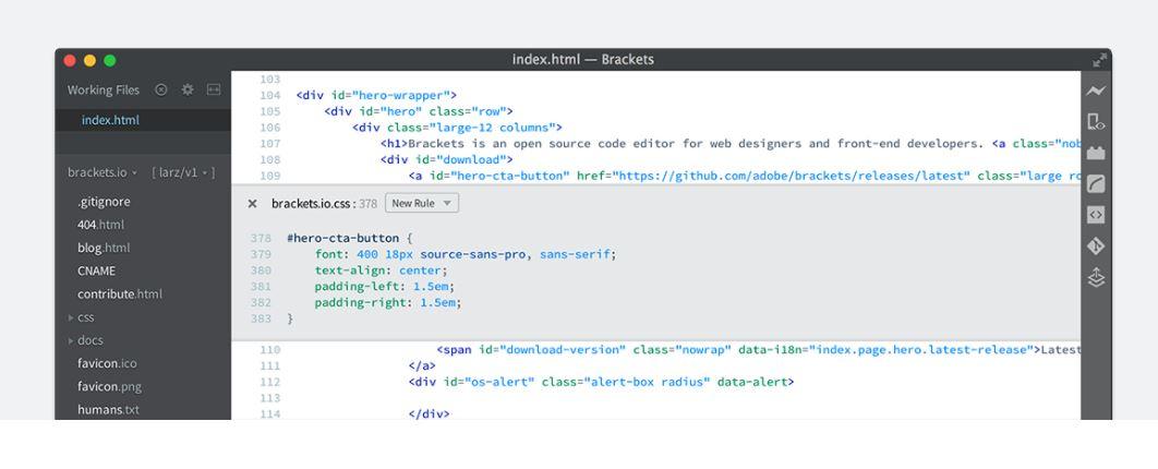 Brackets - Open Source Code Editor