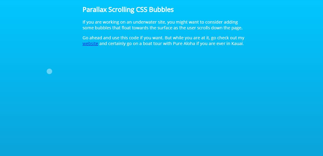 Parallax Scrolling CSS Bubbles