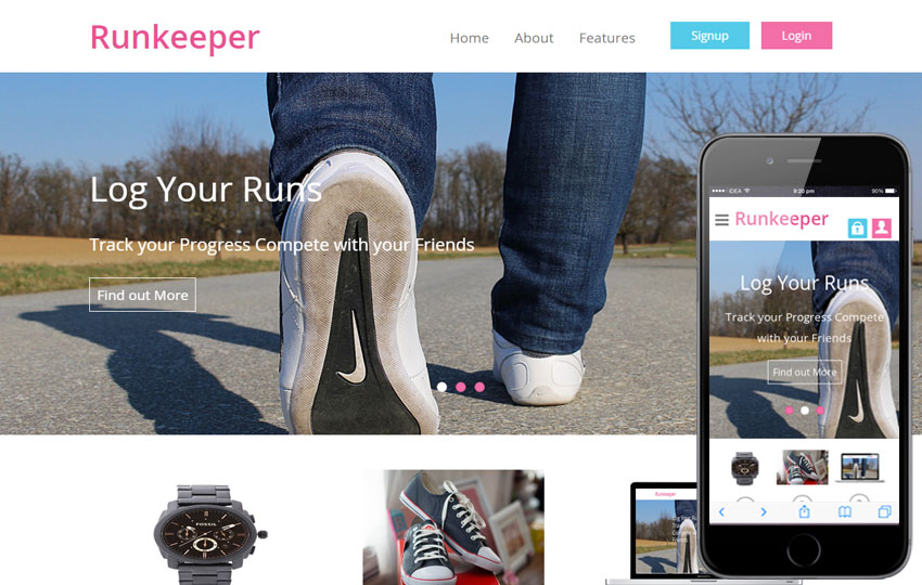Runkeeper - Mobile Responsive Web Template