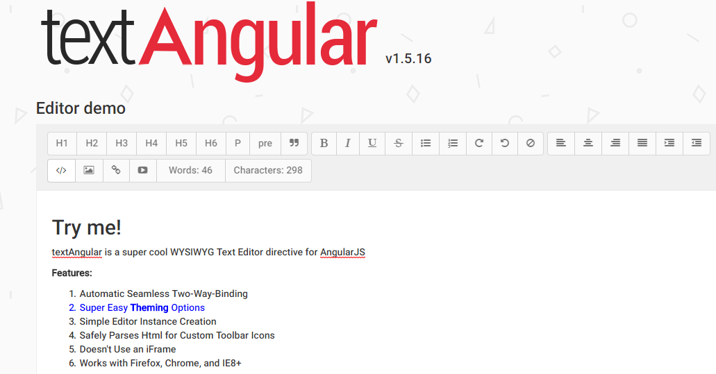 Text Angular