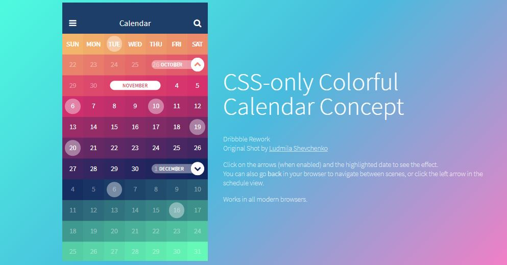 CSS Only Colorful Calendar Concept