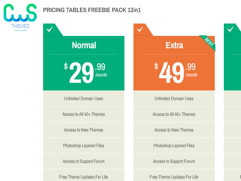 Freebie 12 in 1 Pricing Tables