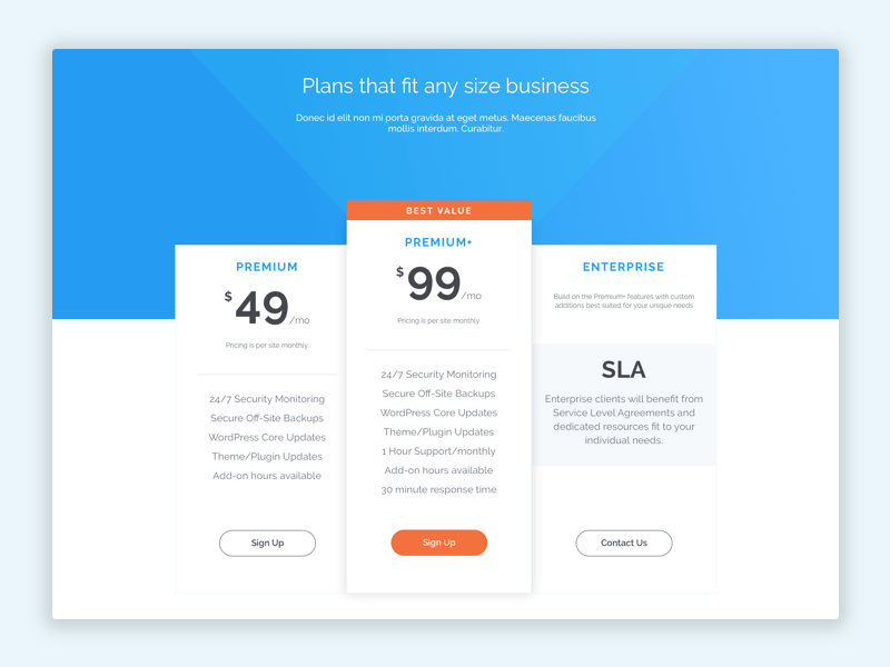 Pricing Page by Cameron
