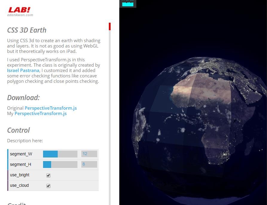 CSS 3D Earth