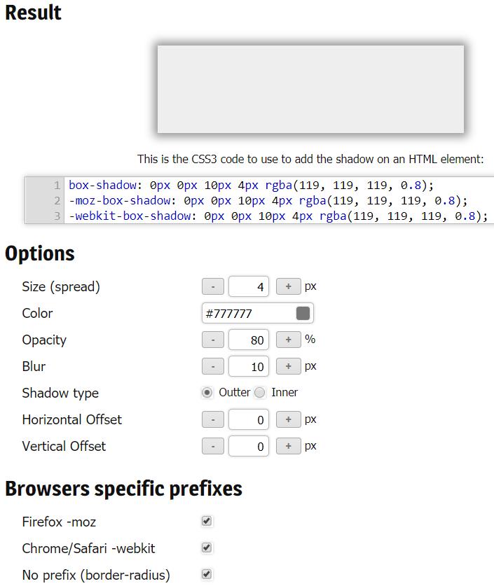 CSS3 Shadow Generator