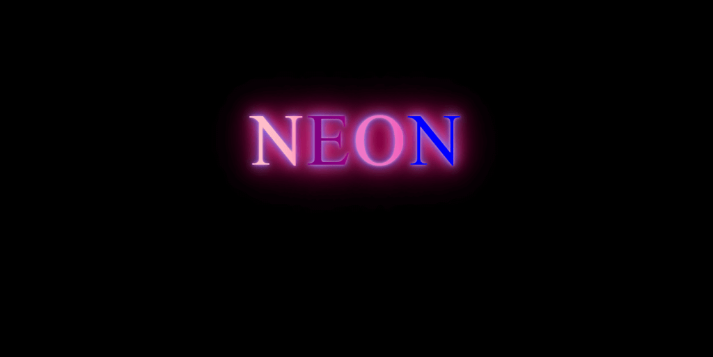 Neon Lights 80s css glowing text animation