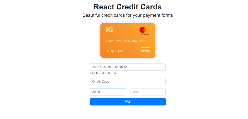 React credit card form