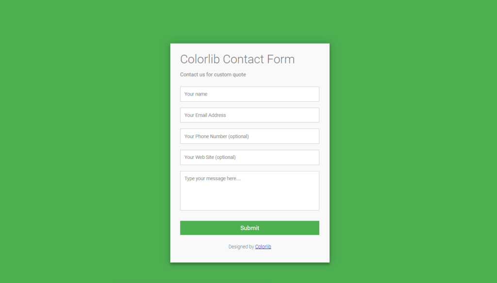 Simple HTML/CSS Contact Form