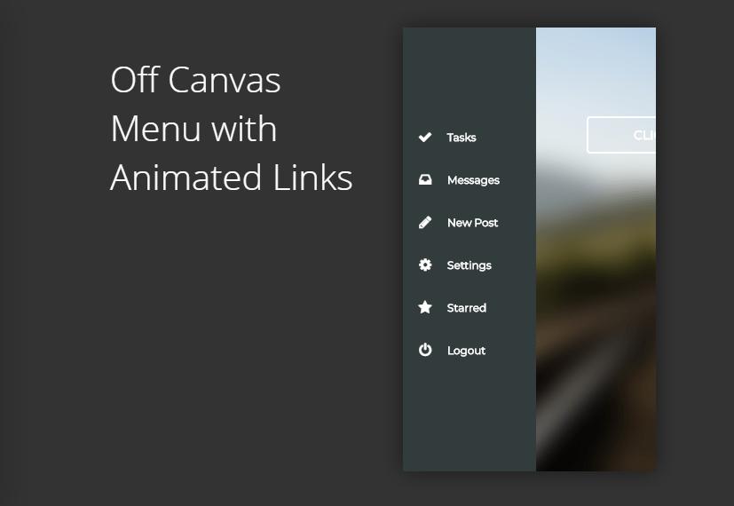 animated mobile off-canvas navigation menu