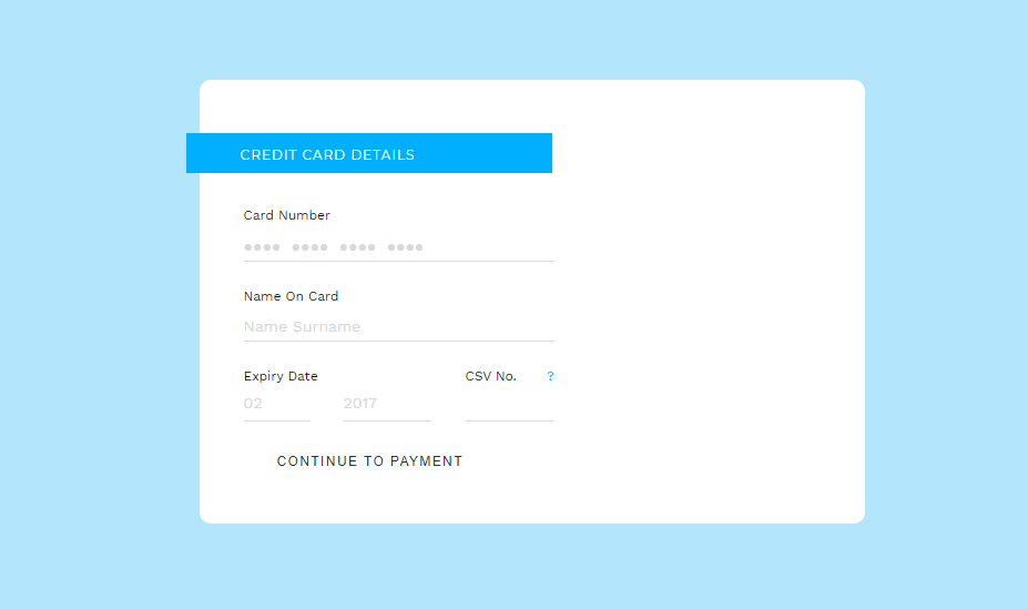 credit card layout with ribbon
