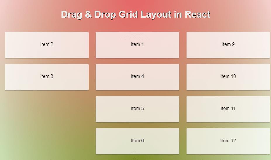 Drag & Drop Grid Layout