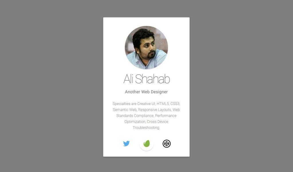 html profile card