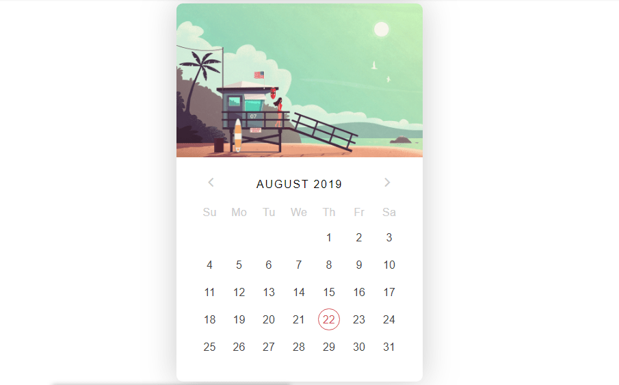 summer calendar with css