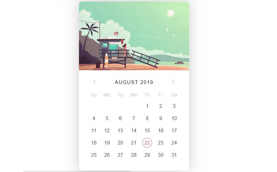 summer calendar with css