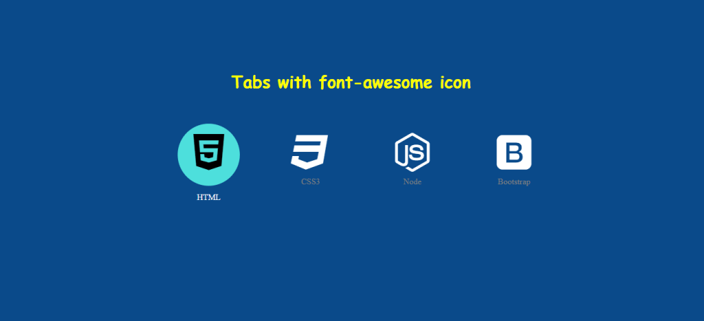 Pure HTML and CSS built icon tabs menu