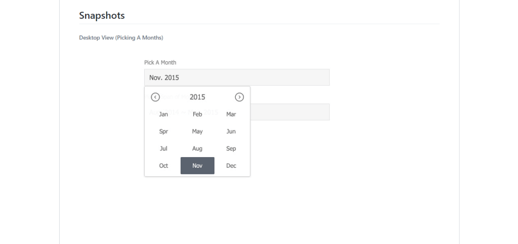 month wise calendar view using react