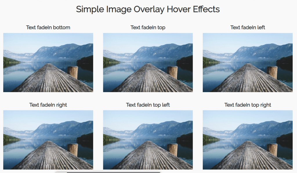 multiple direction image overlay hover effect