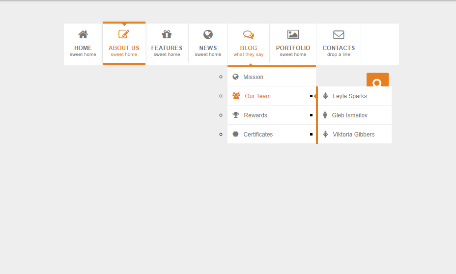 dropdown css menu with animation effects