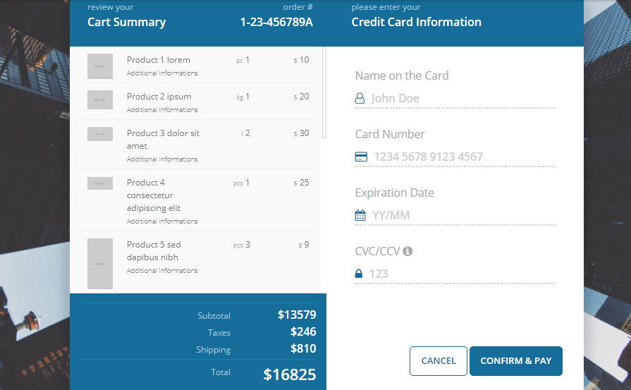 Payment summary on checkout