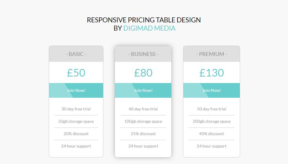price plan table layout