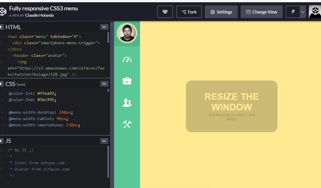 responsive sidebar menu example