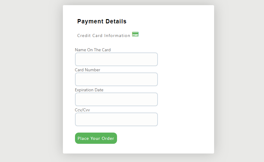 simple checkout form