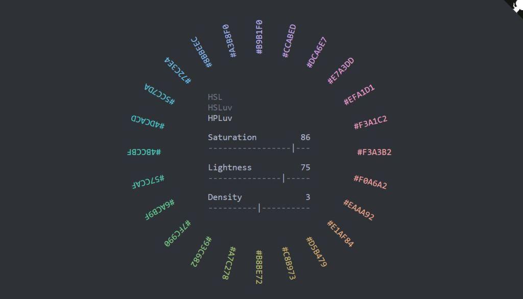 wheel html color palette