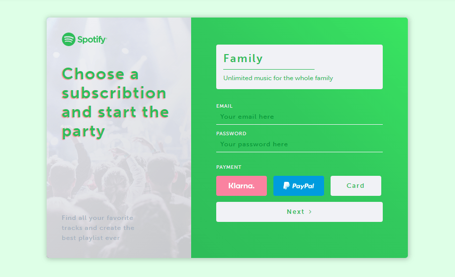 spotify subscription form with html and css