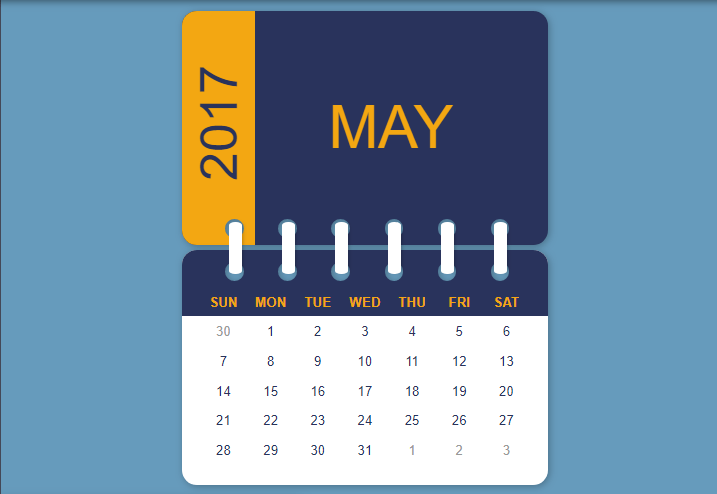 table calendar example