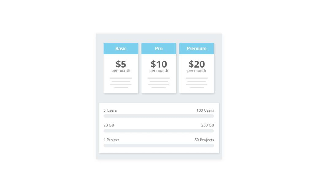 pricing table css