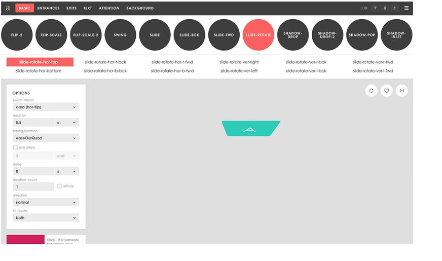 Animista CSS transition animation libraries