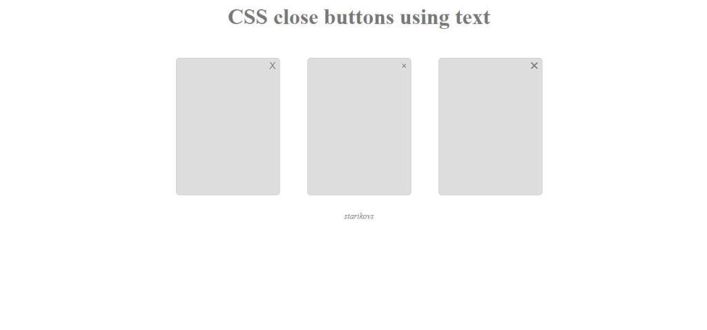 html close button text