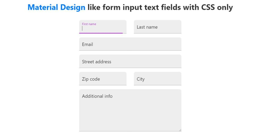 placeholder input type text / textarea of different animation, color and style using HTML, CSS