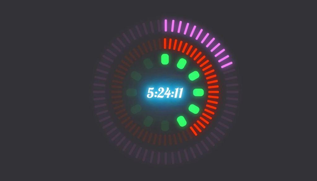 neon clock html css jquery countdown clock