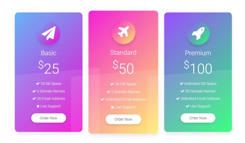 Pricing Table UI Design Example CSS