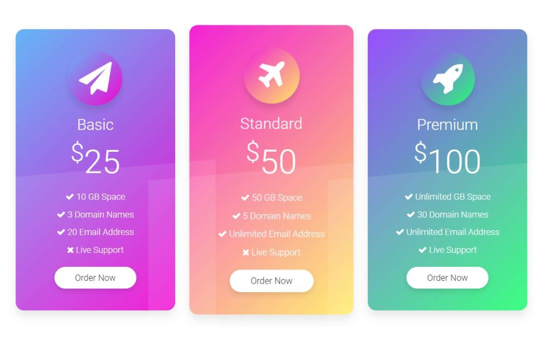 HTML CSS Pricing Table Examples