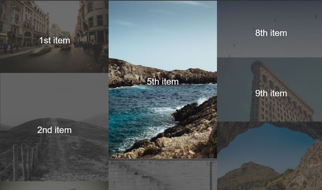 example of grid layout flexbox masonry gallery design achieved with the help of HTML/HTML5, CSS/CSS3, Javascript/Jquery.