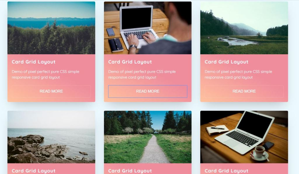 responsive card grid layout html css