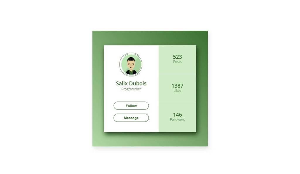 CSS User profile Design Screen card