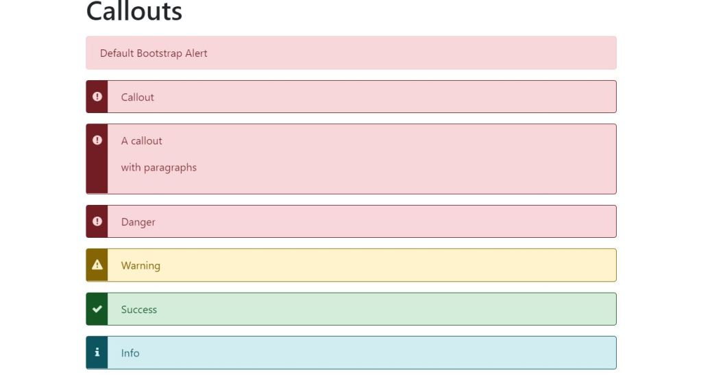 Callouts Bootstrap message view template