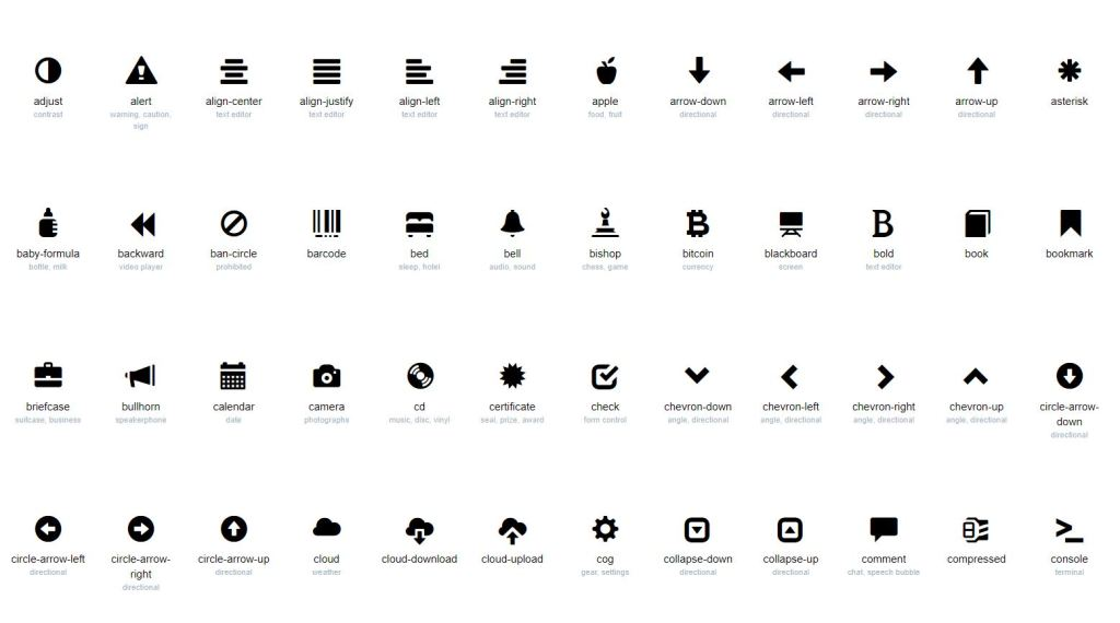 Bootstrap 4 GlyphSearch Glyphicon icons