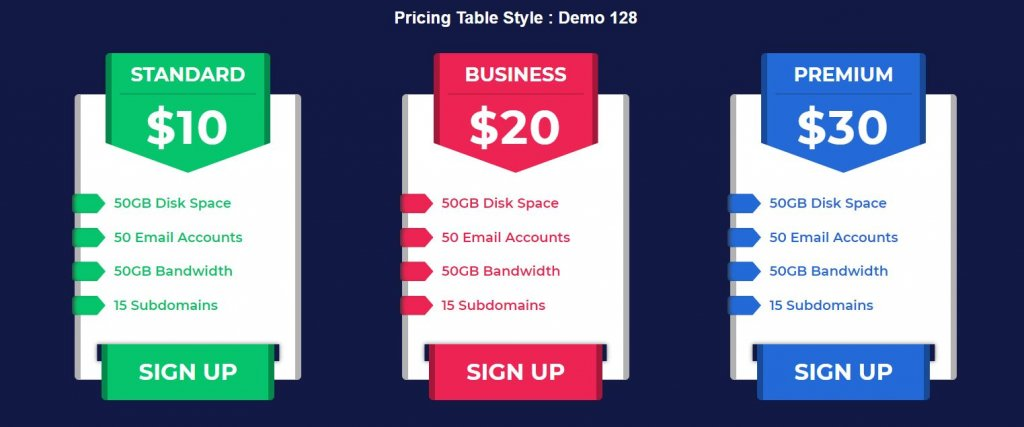 price table HTML CSS example