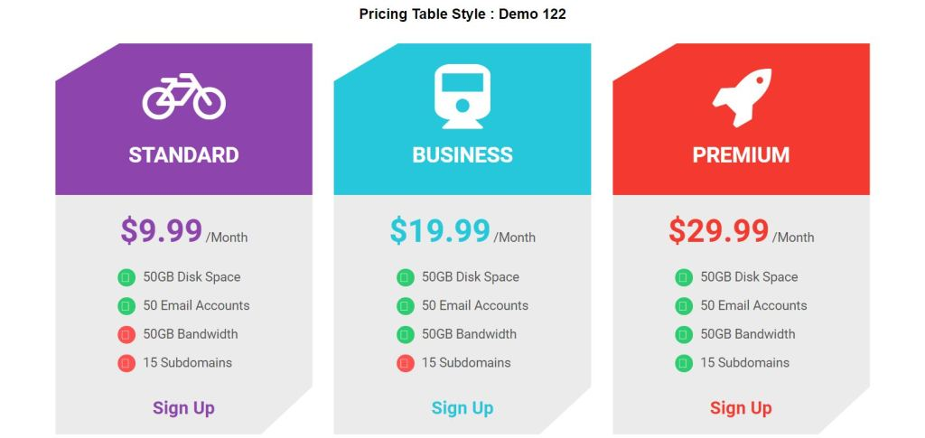 pricing table style