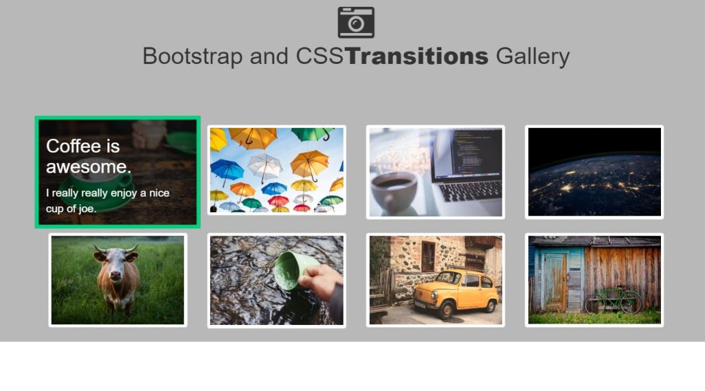 Thumbnail gallery class using Bootstrap
