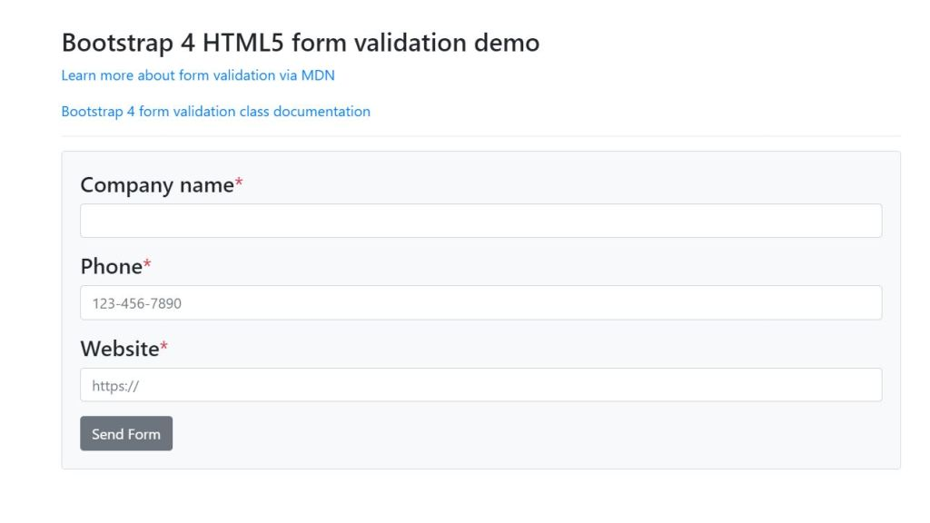 Form input validation examples