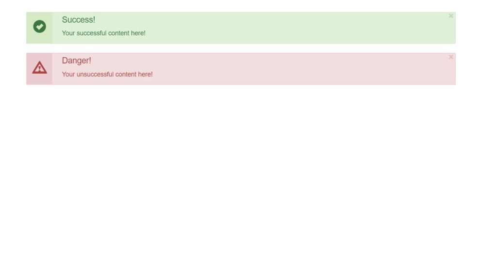 Bootstrap alert/message box example