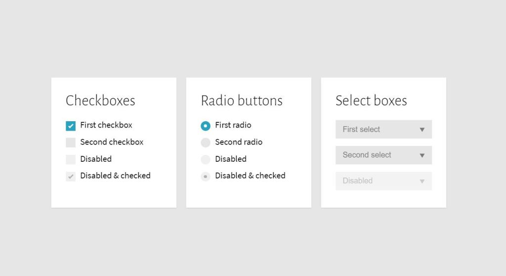 Bootstrap 4 checkbox radio buttons and select boxes